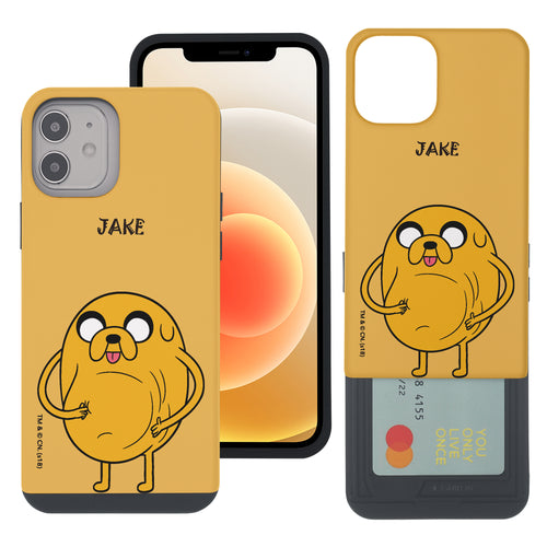 iPhone 12 mini Case (5.4inch) Adventure Time Slim Slider Card Slot Dual Layer Holder Bumper Cover - Lovely Jake