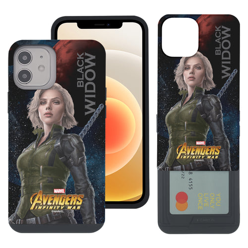 iPhone 12 Pro / iPhone 12 Case (6.1inch) Marvel Avengers Slim Slider Card Slot Dual Layer Holder Bumper Cover - Infinity War Black Widow
