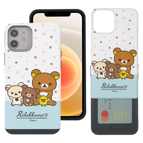 iPhone 12 Pro Max Case (6.7inch) Rilakkuma Slim Slider Card Slot Dual Layer Holder Bumper Cover - Rilakkuma Friends