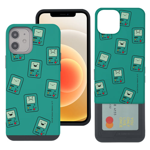 iPhone 12 mini Case (5.4inch) Adventure Time Slim Slider Card Slot Dual Layer Holder Bumper Cover - Pattern BMO