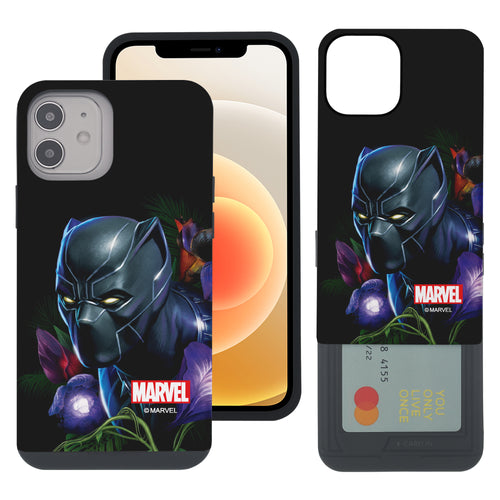 iPhone 12 Pro / iPhone 12 Case (6.1inch) Marvel Avengers Slim Slider Card Slot Dual Layer Holder Bumper Cover - Black Panther Face Black