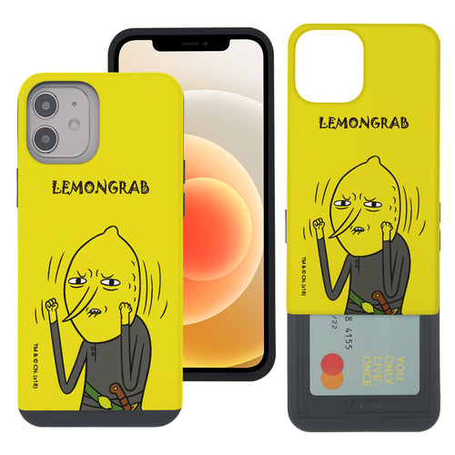 iPhone 12 Pro Max Case (6.7inch) Adventure Time Slim Slider Card Slot Dual Layer Holder Bumper Cover - Lovely Lemongrab