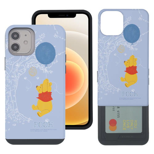 iPhone 12 mini Case (5.4inch) Disney Pooh Slim Slider Card Slot Dual Layer Holder Bumper Cover - Balloon Pooh Sky