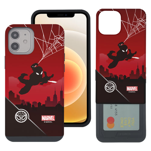 iPhone 12 Pro / iPhone 12 Case (6.1inch) Marvel Avengers Slim Slider Card Slot Dual Layer Holder Bumper Cover - Shadow Spider Man