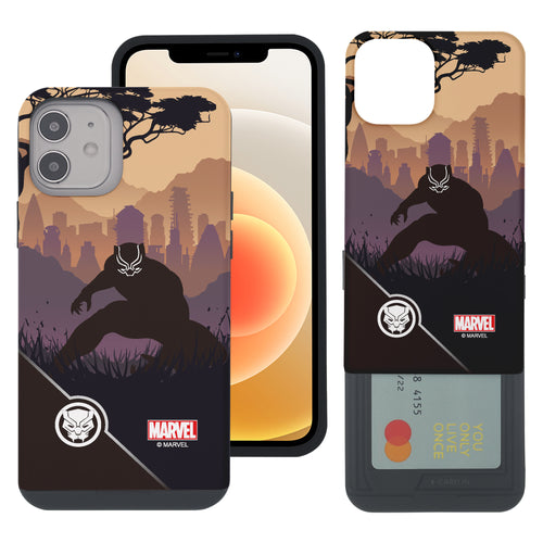 iPhone 12 Pro / iPhone 12 Case (6.1inch) Marvel Avengers Slim Slider Card Slot Dual Layer Holder Bumper Cover - Shadow Black Panther