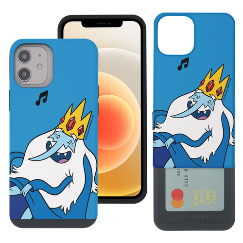 iPhone 12 mini Case (5.4inch) Adventure Time Slim Slider Card Slot Dual Layer Holder Bumper Cover - Vivid Ice King
