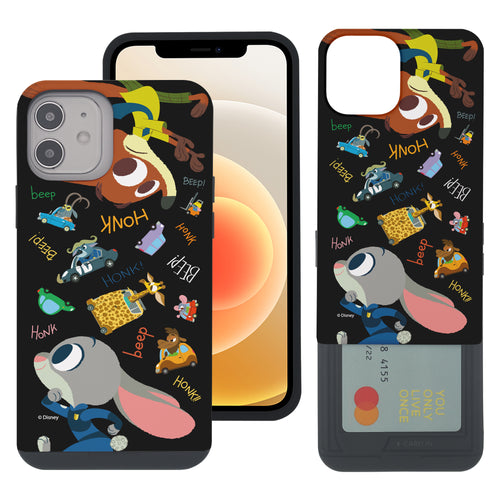 iPhone 12 mini Case (5.4inch) Disney Zootopia Dual Layer Card Slide Slot Wallet Bumper Cover - Zootopia Black