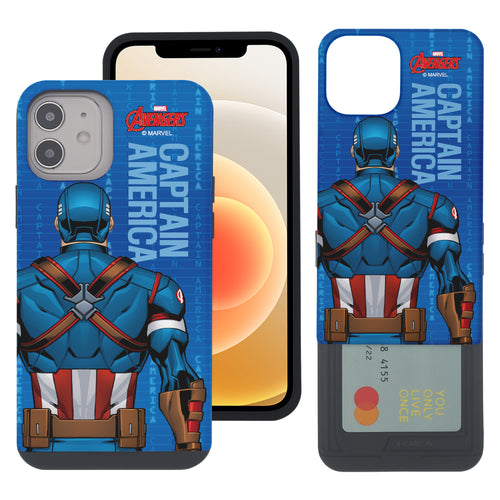 iPhone 12 Pro / iPhone 12 Case (6.1inch) Marvel Avengers Slim Slider Card Slot Dual Layer Holder Bumper Cover - Back Captain America