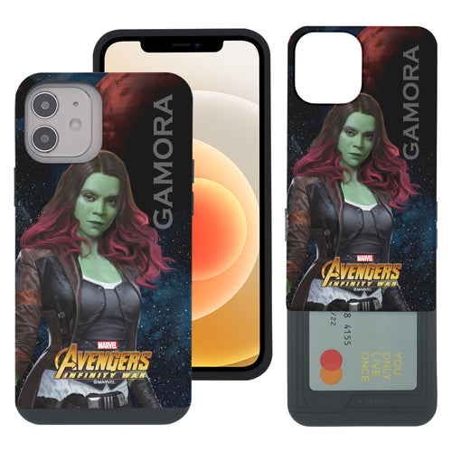iPhone 12 Pro / iPhone 12 Case (6.1inch) Marvel Avengers Slim Slider Card Slot Dual Layer Holder Bumper Cover - Infinity War Gamora