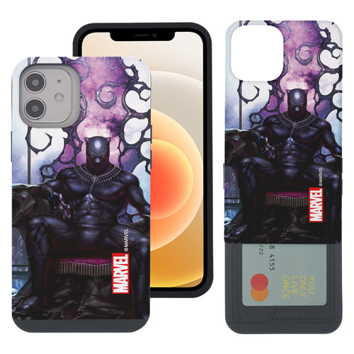 iPhone 12 Pro / iPhone 12 Case (6.1inch) Marvel Avengers Slim Slider Card Slot Dual Layer Holder Bumper Cover - Black Panther Sit