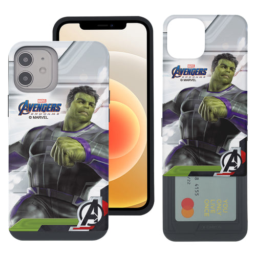 iPhone 12 Pro / iPhone 12 Case (6.1inch) Marvel Avengers Slim Slider Card Slot Dual Layer Holder Bumper Cover - End Game Hulk