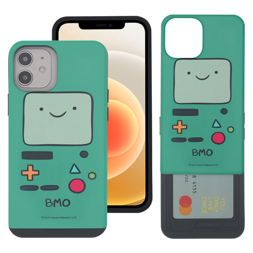 iPhone 12 Pro Max Case (6.7inch) Adventure Time Slim Slider Card Slot Dual Layer Holder Bumper Cover - Beemo (BMO)