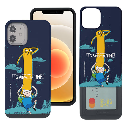 iPhone 12 mini Case (5.4inch) Adventure Time Slim Slider Card Slot Dual Layer Holder Bumper Cover - Cuty Jake Long