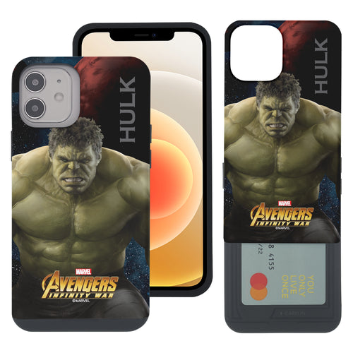 iPhone 12 Pro / iPhone 12 Case (6.1inch) Marvel Avengers Slim Slider Card Slot Dual Layer Holder Bumper Cover - Infinity War Hulk