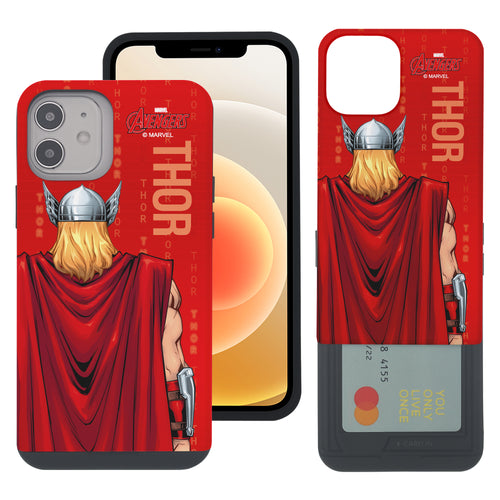 iPhone 12 Pro / iPhone 12 Case (6.1inch) Marvel Avengers Slim Slider Card Slot Dual Layer Holder Bumper Cover - Back Thor