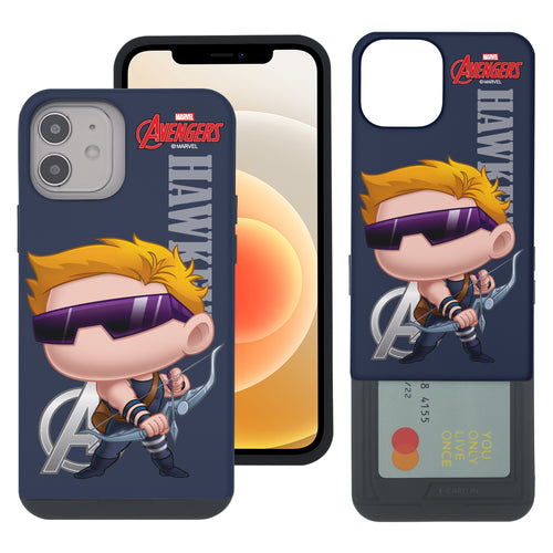 iPhone 12 Pro / iPhone 12 Case (6.1inch) Marvel Avengers Slim Slider Card Slot Dual Layer Holder Bumper Cover - Mini Hawkeye