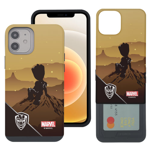 iPhone 12 Pro / iPhone 12 Case (6.1inch) Marvel Avengers Slim Slider Card Slot Dual Layer Holder Bumper Cover - Shadow Groot