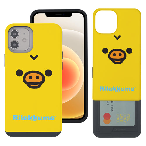 iPhone 12 Pro Max Case (6.7inch) Rilakkuma Slim Slider Card Slot Dual Layer Holder Bumper Cover - Face Kiiroitori