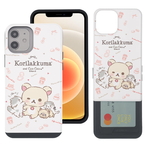iPhone 12 Pro Max Case (6.7inch) Rilakkuma Slim Slider Card Slot Dual Layer Holder Bumper Cover - Korilakkuma Cat