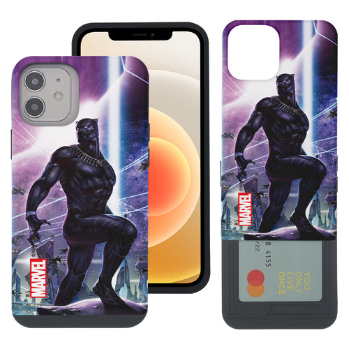 iPhone 12 Pro / iPhone 12 Case (6.1inch) Marvel Avengers Slim Slider Card Slot Dual Layer Holder Bumper Cover - Black Panther Stand