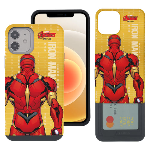 iPhone 12 Pro / iPhone 12 Case (6.1inch) Marvel Avengers Slim Slider Card Slot Dual Layer Holder Bumper Cover - Back Iron Man
