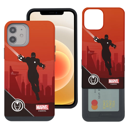 iPhone 12 Pro / iPhone 12 Case (6.1inch) Marvel Avengers Slim Slider Card Slot Dual Layer Holder Bumper Cover - Shadow Iron Man