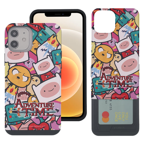 iPhone 12 mini Case (5.4inch) Adventure Time Slim Slider Card Slot Dual Layer Holder Bumper Cover - Adventure Time