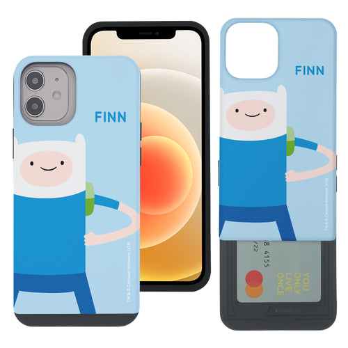 iPhone 12 mini Case (5.4inch) Adventure Time Slim Slider Card Slot Dual Layer Holder Bumper Cover - Cuty Finn