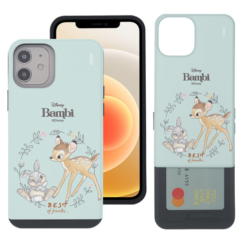 iPhone 12 mini Case (5.4inch) Disney Bambi Slim Slider Card Slot Dual Layer Holder Bumper Cover - Full Bambi Thumper