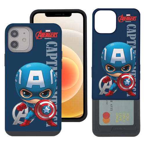 iPhone 12 Pro / iPhone 12 Case (6.1inch) Marvel Avengers Slim Slider Card Slot Dual Layer Holder Bumper Cover - Mini Captain America