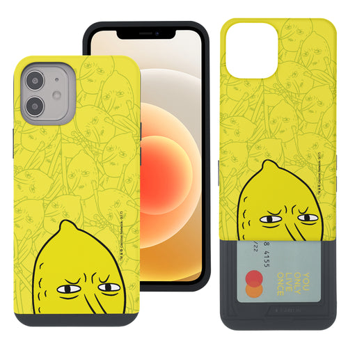 iPhone 12 mini Case (5.4inch) Adventure Time Slim Slider Card Slot Dual Layer Holder Bumper Cover - Pattern Lemongrab Big