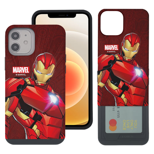 iPhone 12 Pro / iPhone 12 Case (6.1inch) Marvel Avengers Slim Slider Card Slot Dual Layer Holder Bumper Cover - Illustration Iron Man