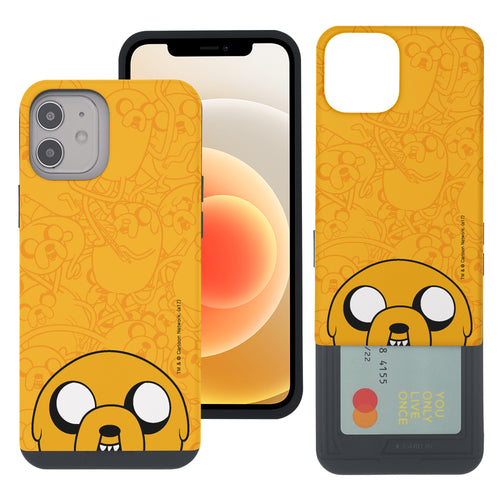 iPhone 12 mini Case (5.4inch) Adventure Time Slim Slider Card Slot Dual Layer Holder Bumper Cover - Pattern Jake Big