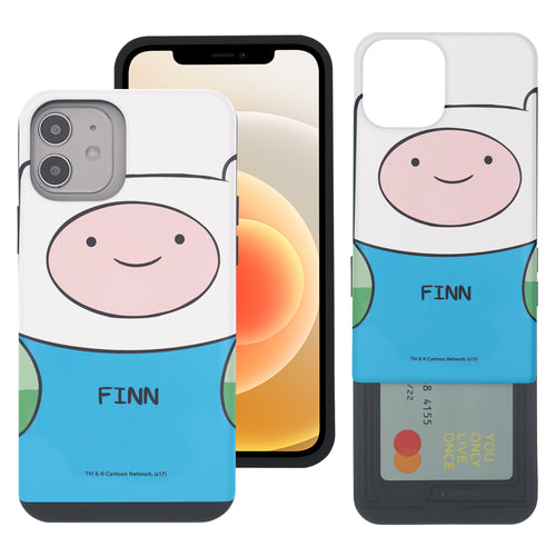 iPhone 12 mini Case (5.4inch) Adventure Time Slim Slider Card Slot Dual Layer Holder Bumper Cover - Finn Mertens
