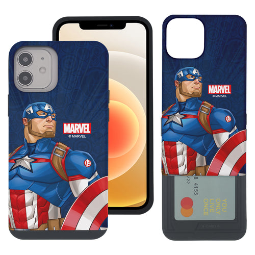 iPhone 12 Pro / iPhone 12 Case (6.1inch) Marvel Avengers Slim Slider Card Slot Dual Layer Holder Bumper Cover - Illustration Captain America