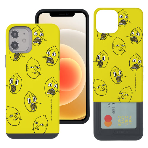 iPhone 12 mini Case (5.4inch) Adventure Time Slim Slider Card Slot Dual Layer Holder Bumper Cover - Pattern Lemongrab