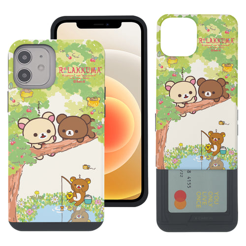 iPhone 12 Pro Max Case (6.7inch) Rilakkuma Slim Slider Card Slot Dual Layer Holder Bumper Cover - Rilakkuma Forest