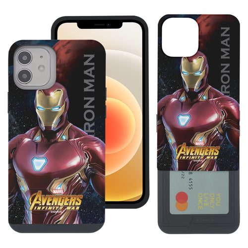 iPhone 12 Pro / iPhone 12 Case (6.1inch) Marvel Avengers Slim Slider Card Slot Dual Layer Holder Bumper Cover - Infinity War Iron Man