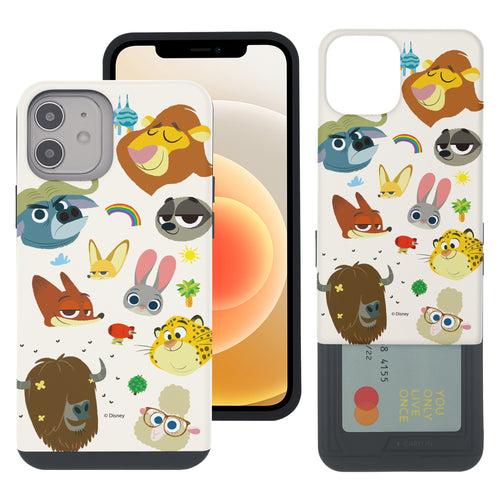 iPhone 12 mini Case (5.4inch) Disney Zootopia Dual Layer Card Slide Slot Wallet Bumper Cover - Zootopia Small