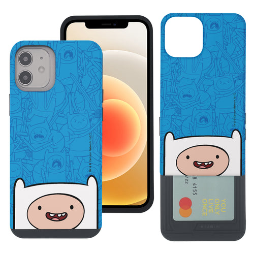 iPhone 12 mini Case (5.4inch) Adventure Time Slim Slider Card Slot Dual Layer Holder Bumper Cover - Pattern Finn Big