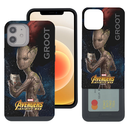 iPhone 12 Pro / iPhone 12 Case (6.1inch) Marvel Avengers Slim Slider Card Slot Dual Layer Holder Bumper Cover - Infinity War Groot
