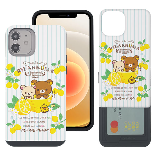 iPhone 12 Pro Max Case (6.7inch) Rilakkuma Slim Slider Card Slot Dual Layer Holder Bumper Cover - Rilakkuma Lemon
