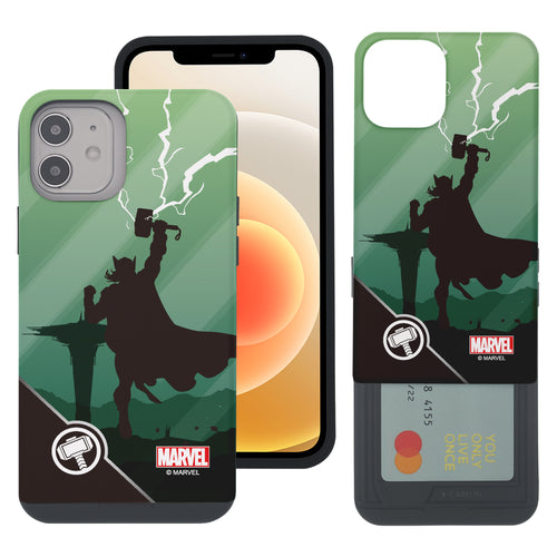iPhone 12 Pro / iPhone 12 Case (6.1inch) Marvel Avengers Slim Slider Card Slot Dual Layer Holder Bumper Cover - Shadow Thor