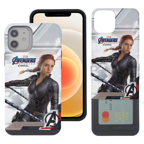 iPhone 12 Pro / iPhone 12 Case (6.1inch) Marvel Avengers Slim Slider Card Slot Dual Layer Holder Bumper Cover - End Game Black Widow