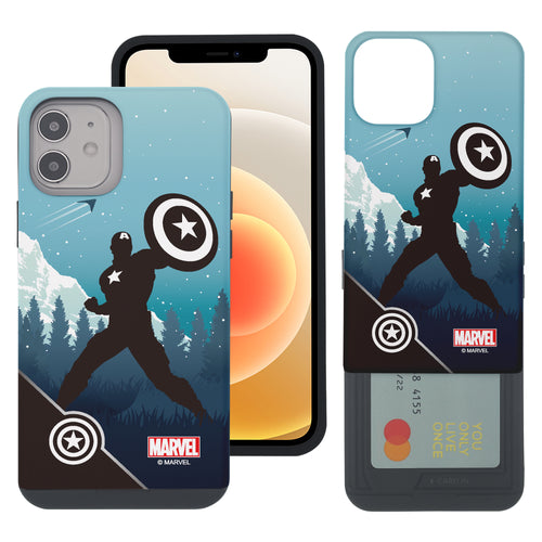 iPhone 12 Pro / iPhone 12 Case (6.1inch) Marvel Avengers Slim Slider Card Slot Dual Layer Holder Bumper Cover - Shadow Captain America