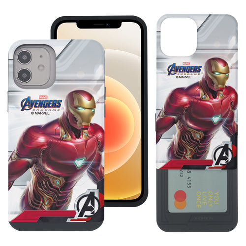 iPhone 12 Pro / iPhone 12 Case (6.1inch) Marvel Avengers Slim Slider Card Slot Dual Layer Holder Bumper Cover - End Game Iron Man