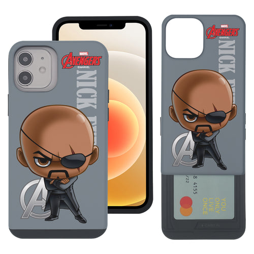 iPhone 12 Pro / iPhone 12 Case (6.1inch) Marvel Avengers Slim Slider Card Slot Dual Layer Holder Bumper Cover - Mini Nick Fury