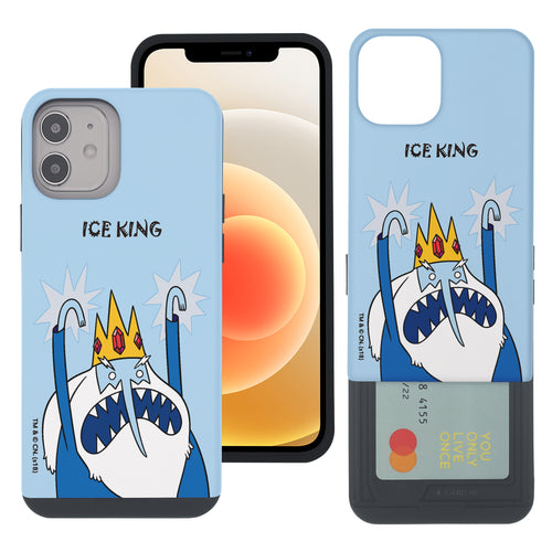 iPhone 12 Pro Max Case (6.7inch) Adventure Time Slim Slider Card Slot Dual Layer Holder Bumper Cover - Lovely Ice King