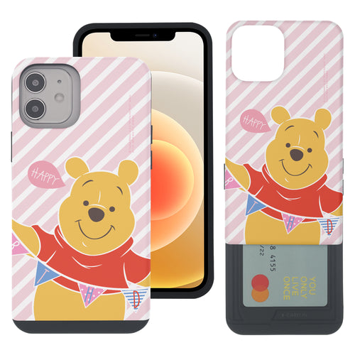 iPhone 12 mini Case (5.4inch) Disney Pooh Slim Slider Card Slot Dual Layer Holder Bumper Cover - Stripe Pooh Happy