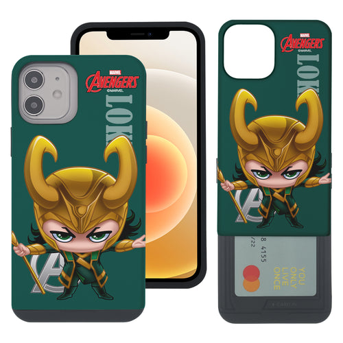 iPhone 12 Pro / iPhone 12 Case (6.1inch) Marvel Avengers Slim Slider Card Slot Dual Layer Holder Bumper Cover - Mini Loki